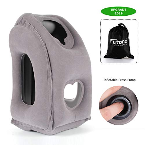 Futone Inflatable Travel Pillow Airplane Pillow with Neck and Head Support for Flights, Buses, Cars, Trains, Office (Gray)